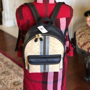 NWT Coach MD Charlie Jacquard/ leather backpack